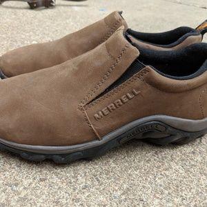 Men's Merrell Mocs Brown Leather Slip On's 8M